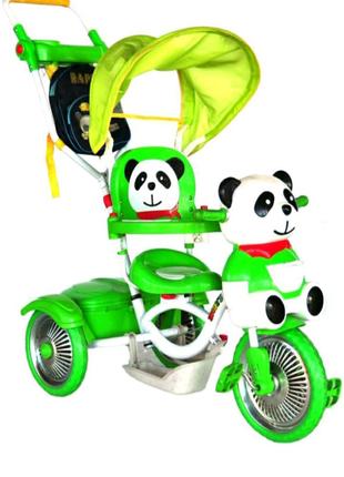 Велосипед с родительской ручкой Панда