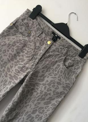Джинсы H&M, женские джинсы, джинсы скинни принт леопард