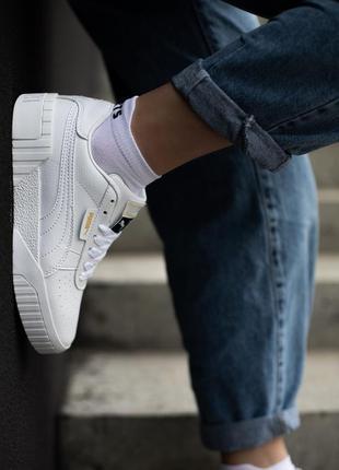 Классные женские кроссовки puma cali white белые