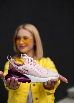 Замечательные женские кроссовки nike air max 270 розовые