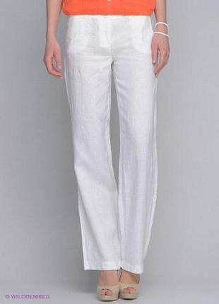 Белые штаны прямого кроя,высокая посадка