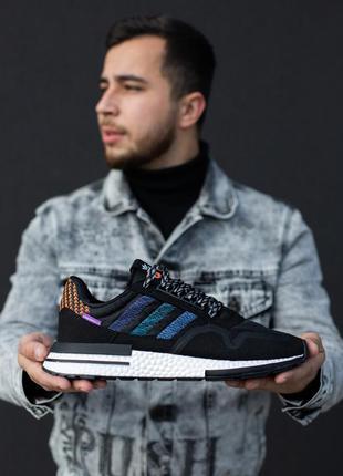 Прекрасные мужские кроссовки adidas zx 500 чёрные