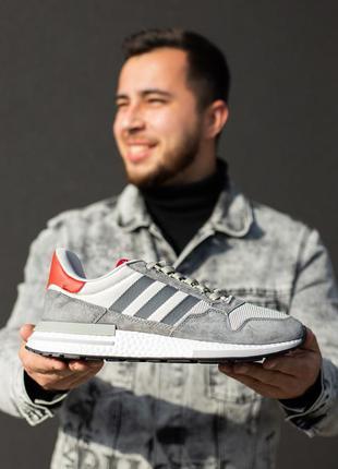 Шикарные мужские кроссовки adidas zx 500 серые