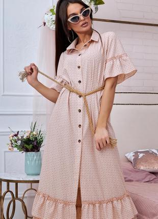 Летнее платье на пуговицах розовое в мелкий черный принт