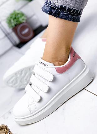 ❤ женские белые кеды кроссовки на липучках ❤