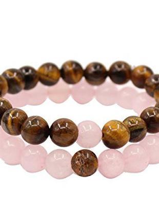 Парные браслеты из натурального камня Тигровый глаз и Розовый ква