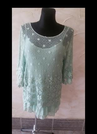 Ажурная блуза-туника италия