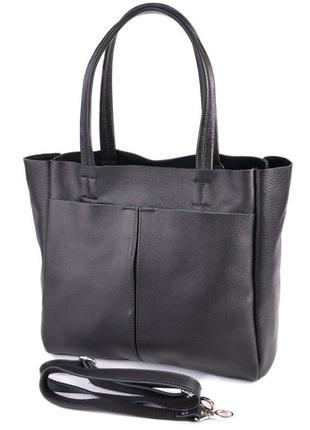 Кожаная вместительная сумка шоппер, удобная сумка из натуральн...