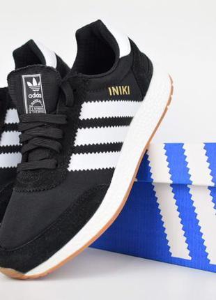 Крутые мужские кроссовки adidas iniki чёрные