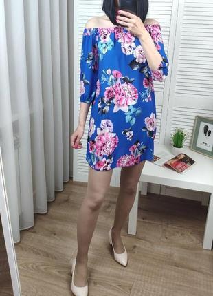 Платье на плечи синее в цветы missi, uk xs-s.