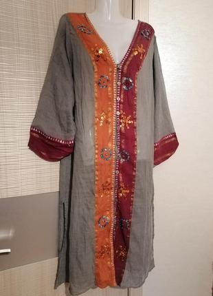 Пляжное длинное платье халат, накидка с вышивкой из хлопка