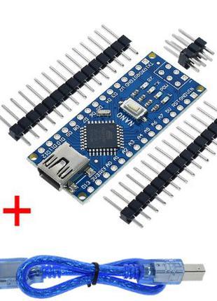 Arduino Nano V3 ATmega168, CH340, mini USB,(Ардуино)+USB кабель
