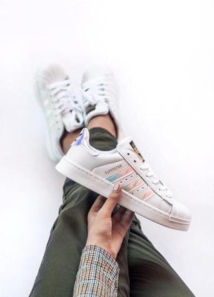 Adidas superstar ✰ женские кожаные кроссовки ✰ белого цвета 😻
