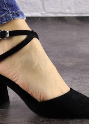 Босоножки туфли черные 36,37,38,39,40р Босоніжки туфлі екозамша