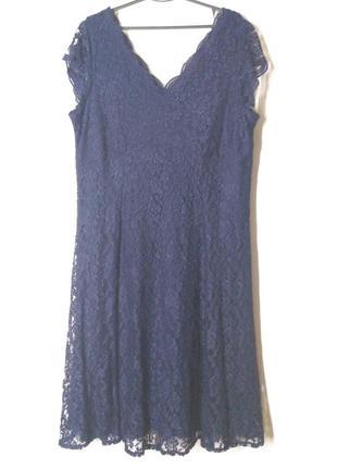 Платье миди темно-синие синие кружевное гипюровое