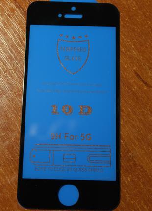 Защитное стекло 10D Iphone 5/5s/SE черное