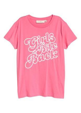 Яркая хлопковая футболка с надписью в блестках h&m