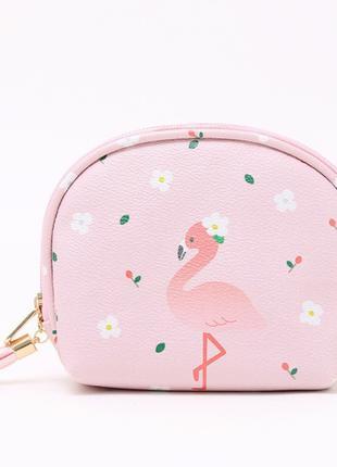 Косметичка-Кошелек с фламинго. Цвет розовый