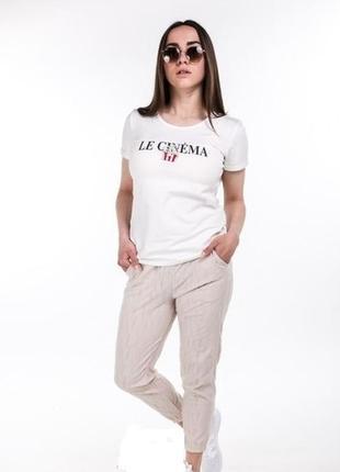 Летний костюм комплект футболка с принтом и укороченные брюки ...