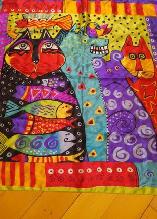 Шелковый яркий платок принт коты италия