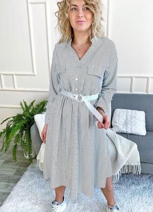 Стильное платье рубашка миди в полоску с поясом