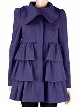 Яркое пальто шерсть фиолетового цвета с рюшами от dorothy perkins