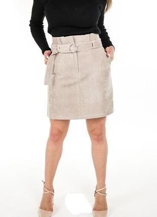 Стильная вельветовая юбка с высокой талией спідниця