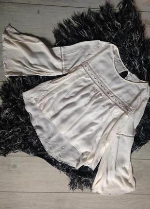 Блуза из жатой ткани с кружевом