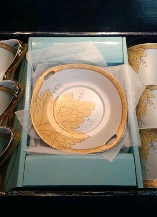 Фарфоровий чайний сервіз з позолотою Jamasen Japan 24 ct Golg Pla