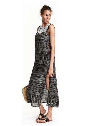 Длинное летнее платье h&m с вышивкой и бисером