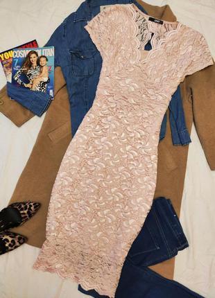Quiz платье миди футляр гипюр на подкладке розовое с блестками...