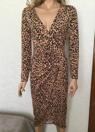 Платье миди на запах в леопардовый принт lipsy london размер 10