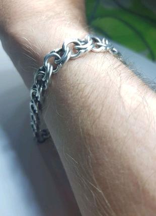 Массивный серебряний браслет мужской