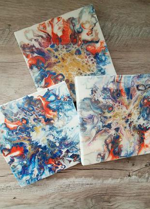 Триптих, интерьерная картина fluid art, жидкий акрил