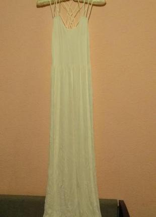 Белое тонкое платье сарафан в пол