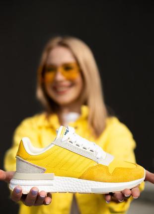 Отличные женские кроссовки adidas zx 500 жёлтые