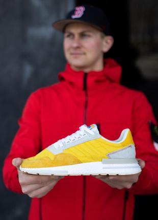 Классные мужские кроссовки adidas zx 500 жёлтые