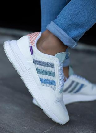 Стильные мужские кроссовки adidas zx 500 белые