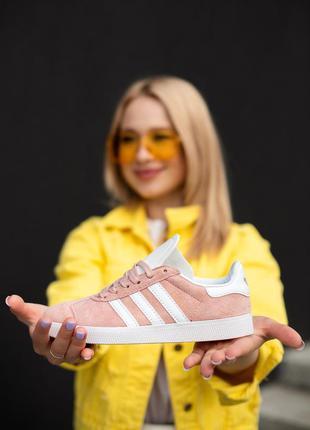 Отличные женские кроссовки adidas gazelle pink розовые