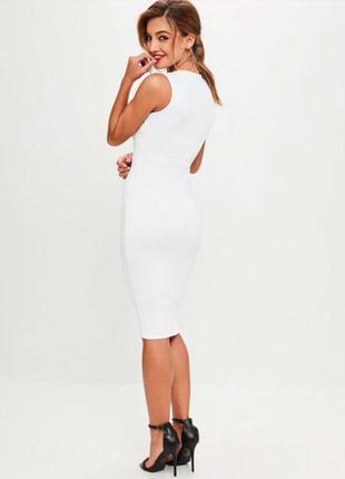 Платье белое фактурное, миди