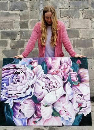 Картина маслом 110Х80см Цветы