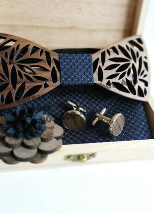 Набор запонки деревянная бабочка галстук платок 3д брошь в дер...