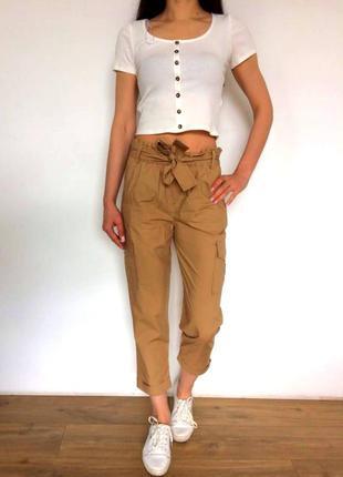 Хлопковый брюки с карманами