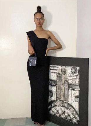 Шикарное вечернее черное платье макси на одно плечо