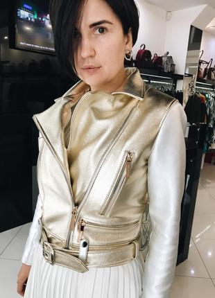 Куртка кожаная Silver2 (золото с серебром, 44)