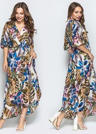 Длинное платье с цветочным принтом из шифона, размер М