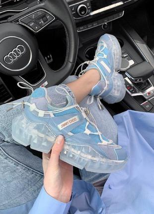 Кроссовки jimmy choo sky blue с крутым дизайном синие джимми чу