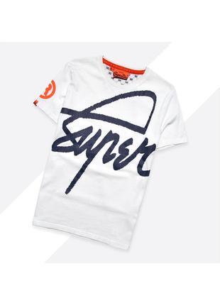 Superdry m-l* / белая футболка с огромным тёмно-синим принтом ...