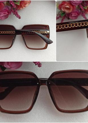Новые стильные очки с блеском по бокам (цепочка на дужках), ко...