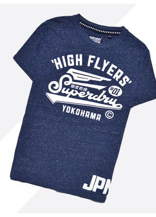 Superdry m-l* / тёмно-синяя футболка с огромным прорезиненным ...